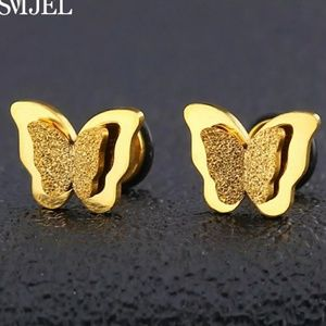 Gold-plated butterfly earrings.